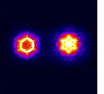 false color convergent beam electron diffraction patterns of the layered transition metal dichalcogenide TaS2 (Tantalum(IV) sulfide).
