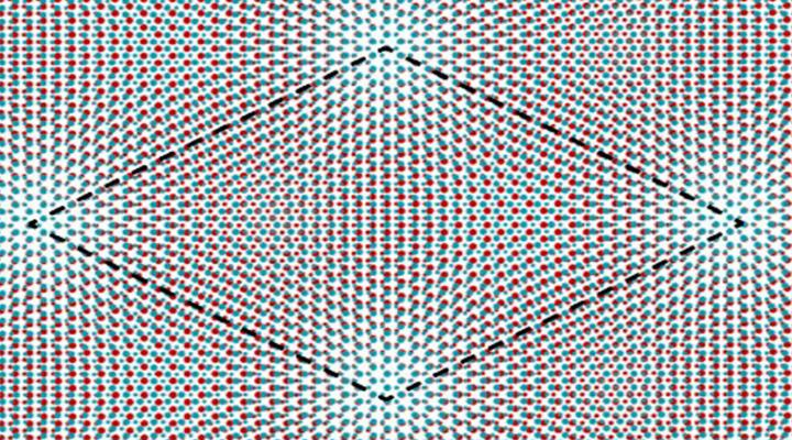 Cornell researchers stacked two atomic monolayers of a semiconductor – tungsten disulfide and tungsten diselenide – to create a moiré superlattice that acts as a simulator for the Hubbard model. This simplified system enables the team to better understand the essential physics of many interacting quantum particles.