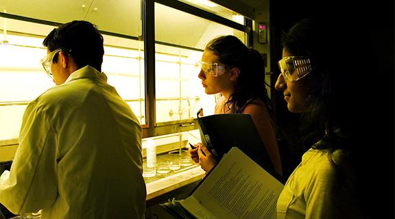 students wearing white lab coats and safety glasses peer into a fume hood with notebooks
